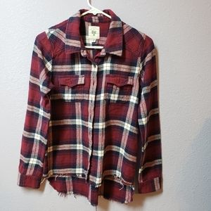 Billabong Red Flannel Buttoned Down Top